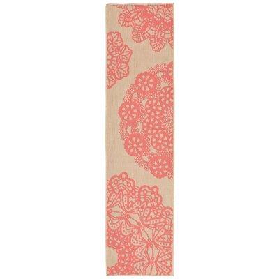 Devondra Crochet Pink/Beige Indoor/Outdoor Area Rug Rug Size: Runner 111 x 76