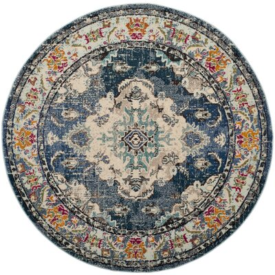 Newburyport Navy/Light Blue Area Rug Rug Size: Round 3
