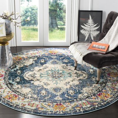 Shakti Navy/Light Blue Area Rug Rug Size: 51 x 77