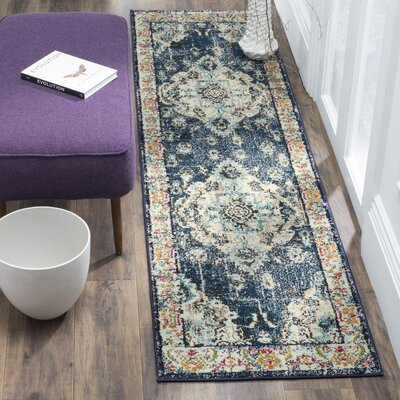 Newburyport Navy/Light Blue Area Rug Rug Size: Runner 22 x 14