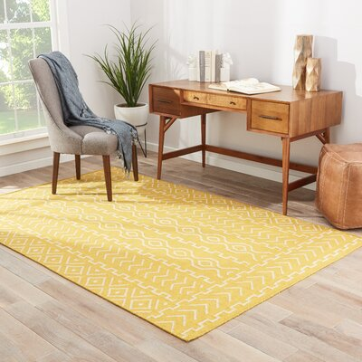 Cristopher Hand-Woven Yellow Area Rug Rug Size: 2 x 3