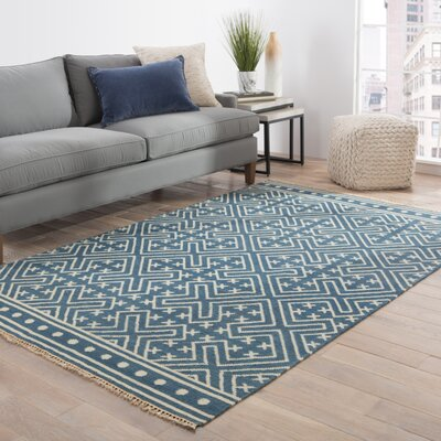 Guillermo Blue/Ivory Geometric Area Rug Rug Size: Rectangle 2 x 3
