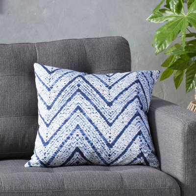 Arhdar Cotton Throw Pillow Color: Blue, Size: 18 H x 18 W