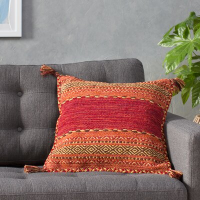 Amrish Pillow Cover Size: 20 H x 20 W x 1 D, Color: Red
