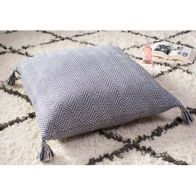 Cherry Chevron Cotton Floor Pillow Color: Navy Blue