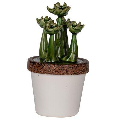 Ceramic Succulent  Plant Sculpture in White Pot