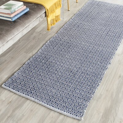 Dormody Hand-Woven Cotton Ivory/Navy Blue Area Rug Rug Size: Runner 23 x 9