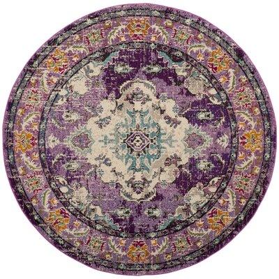Newburyport Violet/Light Blue Area Rug Rug Size: Round 67