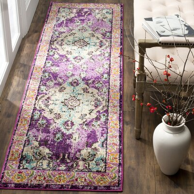 Newburyport Violet/Light Blue Area Rug Rug Size: Runner 22 x 14