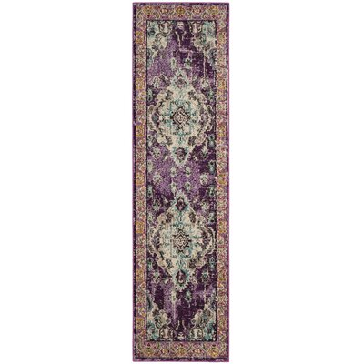 Newburyport Violet/Light Blue Area Rug Rug Size: Runner 22 x 6