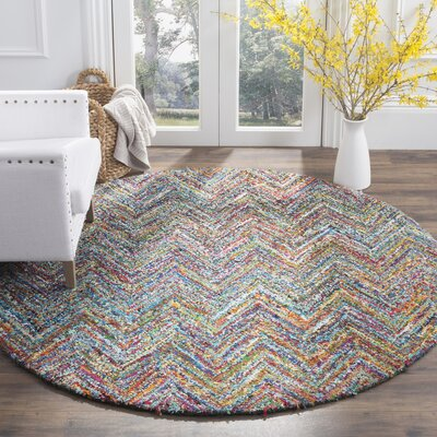 Sergio Hand-Tufted Multi/Blue Area Rug Rug Size: Round 8