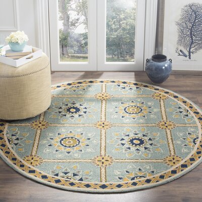 Istanbul Hand-Hooked Light Blue/Dark Blue Area Rug Rug Size: Round 8 x 8