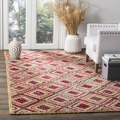 Francisco Natural & Red Area Rug Rug Size: 5 x 8