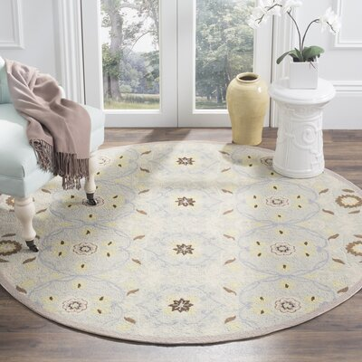 Pazar Hand-Hooked Light Blue/Ivory Area Rug Rug Size: Round 56 x 56