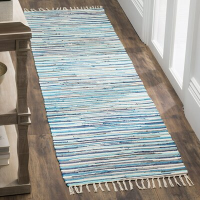 Samia Hand-Woven Blue Area Rug Rug Size: Runner 23 x 8