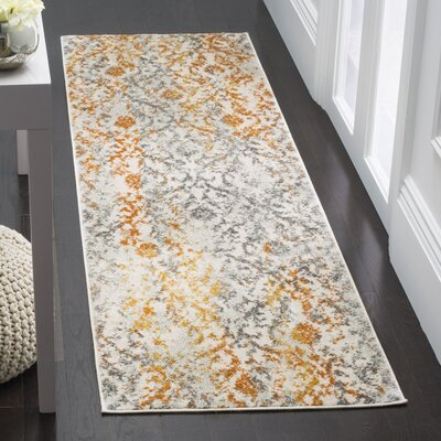 New Caledonia Gray/Orange Area Rug Rug Size: Runner 23 x 8