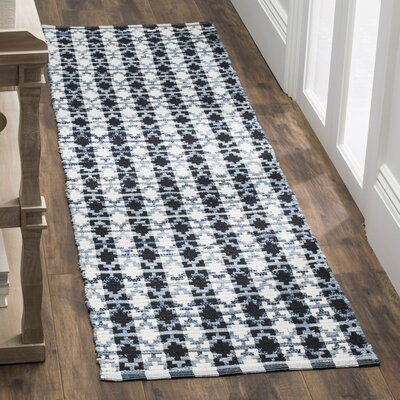 Saleem Hand-Woven Ivory Blue/Black Area Rug Rug Size: Rectangle 26 x 4