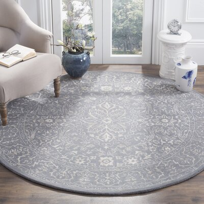 Samaniego Hand-Tufted Steel/Blue Area Rug Rug Size: Round 6