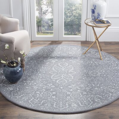 Wilkins Hand-Tufted Opal/Gray Area Rug Rug Size: Round 6