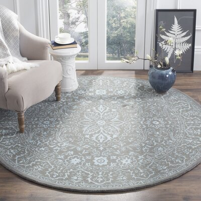 Samaniego Hand-Tufted Wool Dark Gray Area Rug Rug Size: Round 6