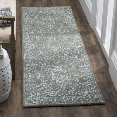 Samaniego Hand-Tufted Blue/Dark Gray Area Rug Rug Size: Runner 23 x 8