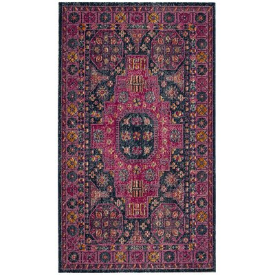 Manya Blue /Fuchsia Area Rug Rug Size: Rectangle 67 x 9