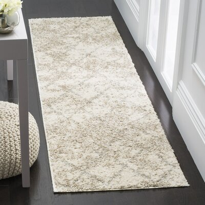 Zettie Cream/Light Gray Area Rug Rug Size: Runner 23 x 8