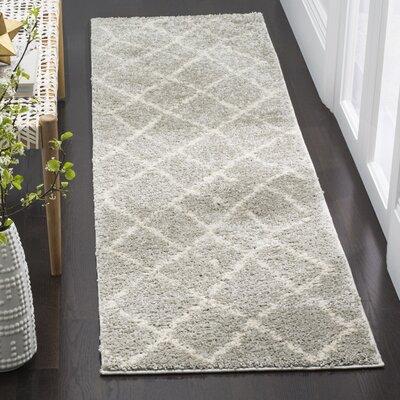 Zettie Light Gray/Cream Area Rug Rug Size: Runner 23 x 8