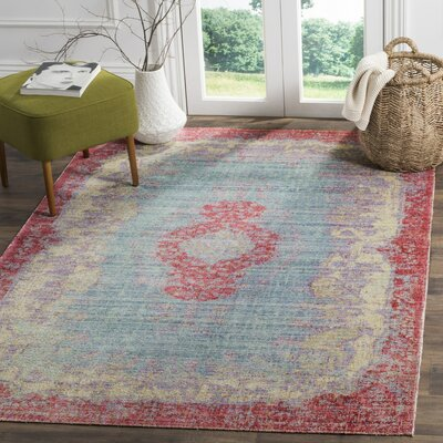 Bangou Light Blue/Fuchsia Area Rug Rug Size: Rectangle 3 x 8