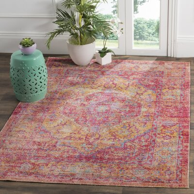 Bangou Pink Area Rug Rug Size: Rectangle 3 x 5