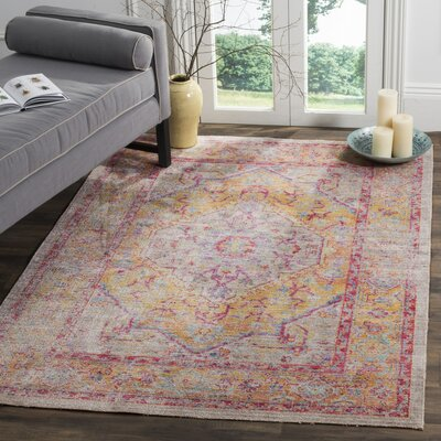 Bangou Gray/Gold Area Rug Rug Size: Square 6