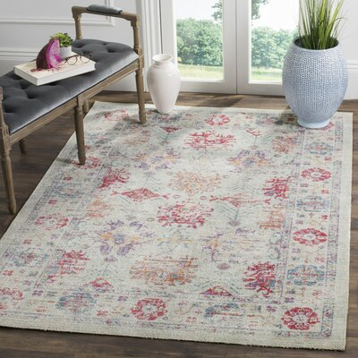 Bangou Ivory/Fuchsia Area Rug Rug Size: Rectangle 3 x 8