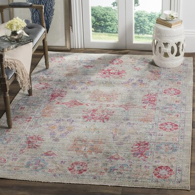 Bangou Gray/Fuchsia Area Rug Rug Size: Rectangle 3 x 8