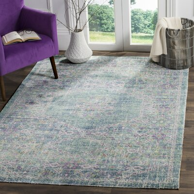 Bangou Blue/Purple Area Rug Rug Size: Round 6