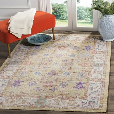 Bangou Yellow & Gold Area Rug Rug Size: 4 x 6
