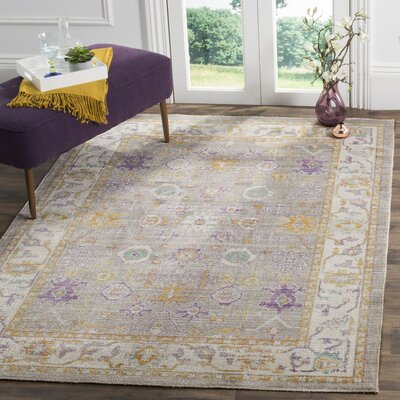 Bangou Gray/Cream Area Rug Rug Size: Rectangle 4 x 6