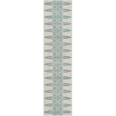 Amedee Ivory/Teal Area Rug Rug Size: Runner 2 x 8