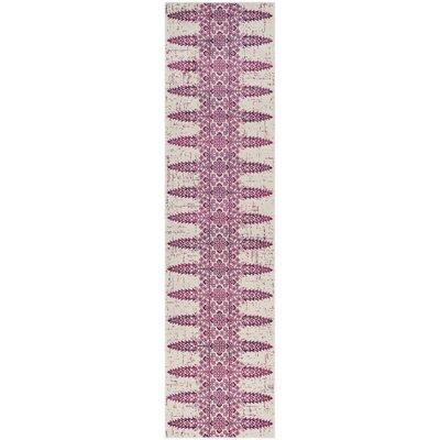 Amedee Ivory/Fuchsia Area Rug Rug Size: Runner 2 x 8