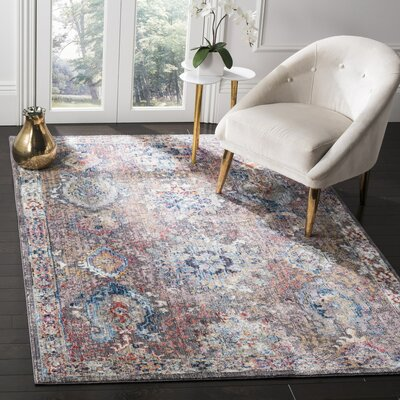 Hays Dark Gray/Blue Area Rug Rug Size: 51 x 76