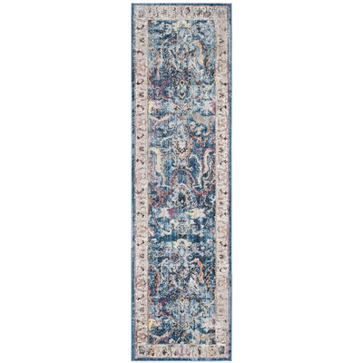 Fitz Blue/Light Gray Area Rug Rug Size: Square 7