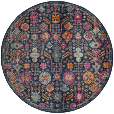 Bernice Blue/Pink Area Rug Rug Size: Round 67