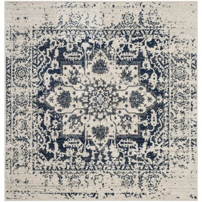 Loretta Cream/Navy Area Rug Rug Size: Square 67