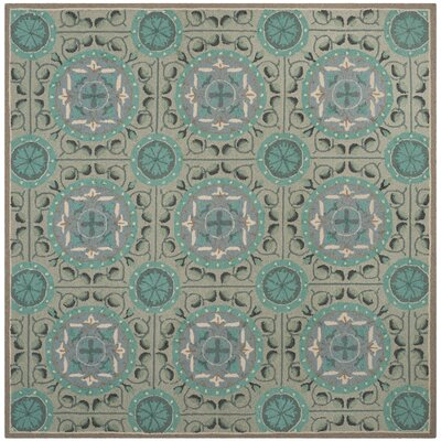 Mackenzie Mint/Aqua Outdoor Area Rug Rug Size: Square 6