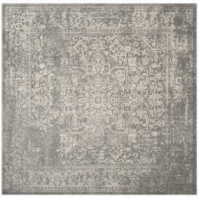 Amasa Silver/Ivory Area Rug Rug Size: Square 67 x 67