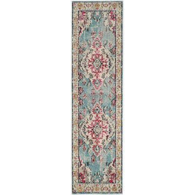 Newburyport Light Blue/Fuchsia Area Rug Rug Size: Runner 22 x 14