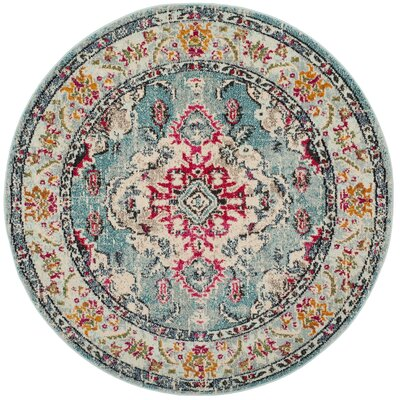 Newburyport Light Blue/Fuchsia Area Rug Rug Size: Round 3