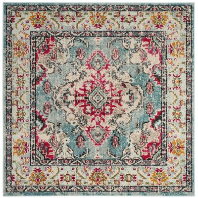 Newburyport Light Blue/Fuchsia Area Rug Rug Size: Square 5 x 5