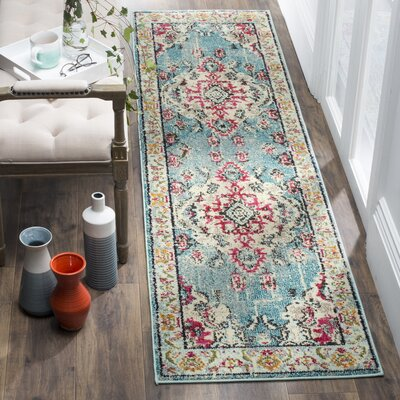 Shakti Light Blue/Fuchsia Area Rug Rug Size: Runner 22 x 6