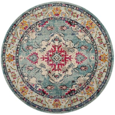 Newburyport Light Blue/Fuchsia Area Rug Rug Size: Round 67 x 67