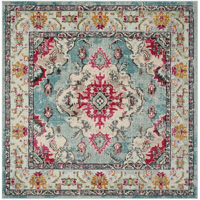 Newburyport Light Blue/Fuchsia Area Rug Rug Size: Square 67